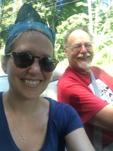 Dad and I drive the vintage convertible to our farmer's market (and yes he's looking at the camera - he's a terrifying driver!).